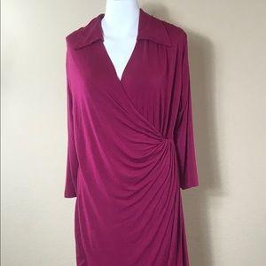 A8 Amelia Sangria Cotton Faux Wrap Dress NWT L